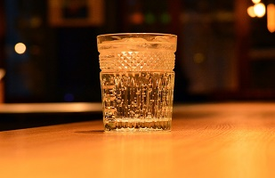 A glass of sparkling water